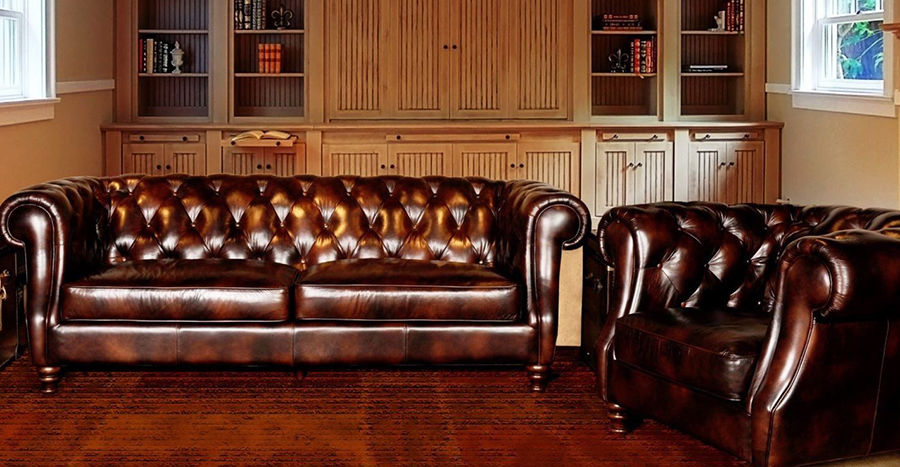 Chesterfield sofa inside home office